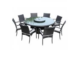 black rattan 8 roma with large round table set free lazy susan