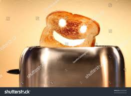 Toaster Face Toast Smiley Face Toaster On Counter Stock Photo 23455948