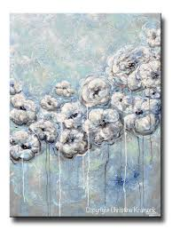 giclee print art abstract blue white flower painting canvas print