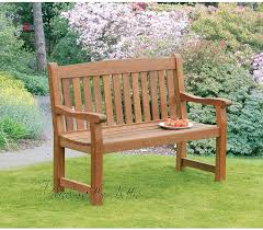 wooden garden companion seat bench heavy duty in solid hardwood