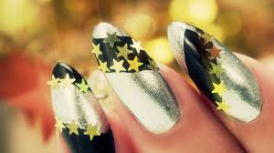 new years nail art black and silver with gold stars youtube