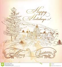 christmas greeting card in vintage style with hand drawn landsca