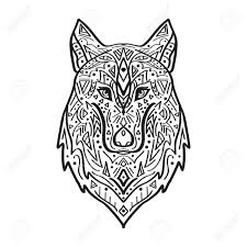 vector black and white illustration of tribal style wolf with