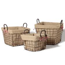 adeco square rustic vintage inspired iron baskets handles burlap