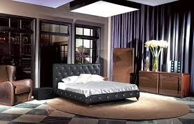 384 neoclassical black bonded leather tufted bed w crystals
