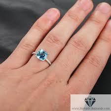 aquamarine and diamond ring cushion cut aquamarine diamond pave engagement ring