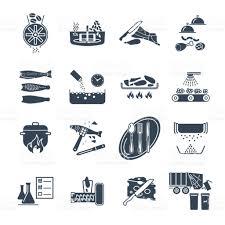 jeux de restaurant de cuisine jeu de restaurant icônes noir café processus de fabrication de