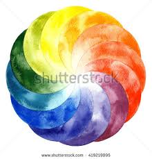 watercolor color wheel primary secondary tertiary stock