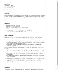 Sample Resume For Real Estate Agent by Professional Global Mobility Specialist Templates To Showcase Your
