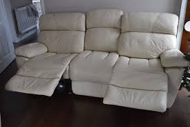 Recliner 3 Seater Sofa Furniture Village Leather Cream Manual Reclining 3 Seater Sofa And