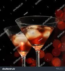red iced cocktail martini glasses front stock photo 128505359
