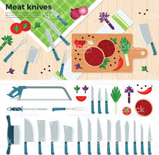 Modern Kitchen Knives Modern Kitchen Knives For Meat And Vegetables Stock Vector Art