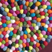 Nepal Felt Ball Rug Multicoloured Round Felt Ball Rugs 100 Handmade Nepal Rug