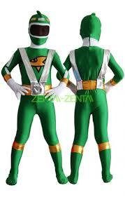 Power Ranger Halloween Costumes Power Ranger Kids Costume Green Silver Yellow Spandex Lycra