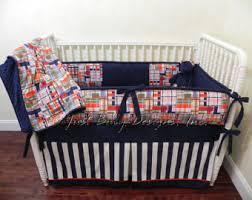Plaid Crib Bedding Custom Baby Bedding Set Judson Boy Baby Bedding Navy Crib
