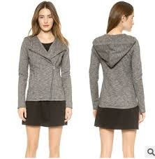 fashion leisure short slim hooded lapel collar oblique zipper