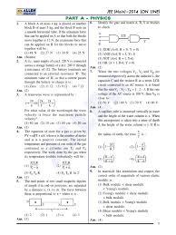 jee main 2014 answer key online 09 04 2014 electronvolt oxygen