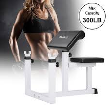 tomshoo adjustable seated preacher curl bench biceps arm curl