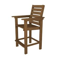 Barstool Chair Shop Polywood Captain Teak Plastic Patio Barstool Chair At Lowes Com
