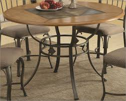 Wood Dining Table With Metal Legs Monotheist With Round Metal Top