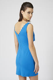 topshop scallop cut out bodycon dress in blue lyst