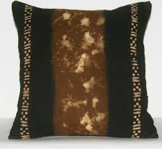 african mud cloth pillow cover black tie dyed hand painted lightly