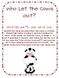 who let the cows out sight word card game words with ou and ow