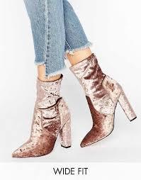 womens boots uk asos asos elba wide fit velvet pointed sock boots taupe velvet womens