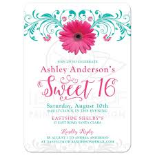 sweet 16 birthday invitation pink teal gerber daisy floral