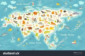 Kids World Map by Animals World Map North America Colorful Stock Vector 354569408