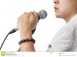 Whit Man And Hand Holding Microphone Stand Sing Song On Whit Stock