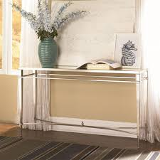 Mirror Sofa Table by Hammary 173 925 Mallory Sofa Table In Satin Nickel Antique Mirror