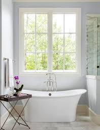 Bathrooms With Freestanding Tubs Blue Spa Like Bathroom With Freestanding Tub Transitional Bathroom
