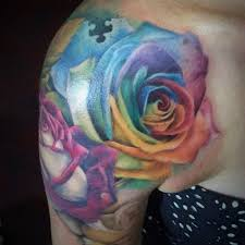 colorful rose tattoo awesome rainbow rose tattoo by samm lacey