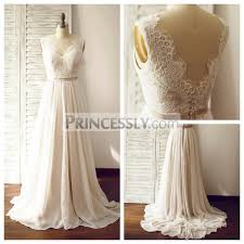 chiffon wedding dress a line ivory lace chiffon v neck wedding dress with chapel