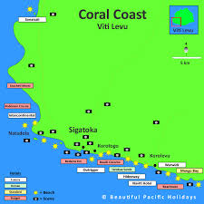 fiji resort map map of coral coast in fiji islands showing hotel locations
