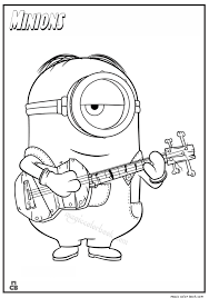 large guitar coloring page coloring minion coloring book online also minion bob coloring book
