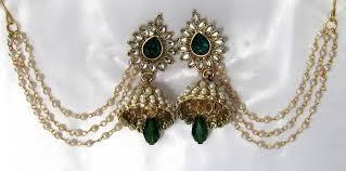 jhumka earrings with chain buy green drop jhumka with pearl ear chain earring online