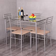 Dining Room High Back Chairs by 5pc Dining Room Kitchen Set Clear Glass Dining Set Room Table 4