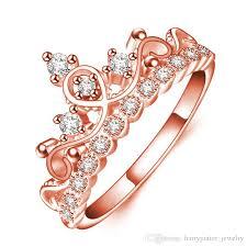 ring finger rings images Fashion zircon crystal diamond crown ring women rose gold ring jpg