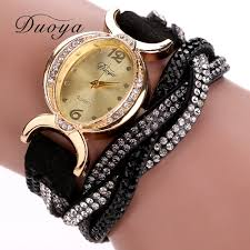 crystal bracelet watches images Duoya luxury brand watch women gold dress crystal rhinestone jpg