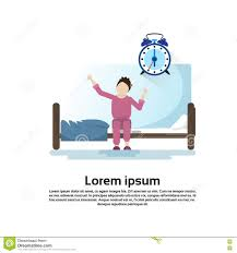morning bedroom cartoon character waking up stretching stock