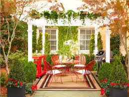 appealing red themed outdoor sitting space that installed under