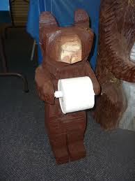 hand made chainsaw carved bear toilet paper holder by parrish