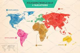polygons world map illustrations creative market