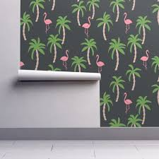 palm tree home decor palm tree fabric flamingo summer wallpaper by andrea lauren