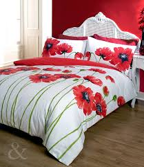 poppy bedding red cream duvet cover floral bed set red king