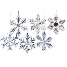 kurt adler 2 glass iridescent snowflake ornaments 12