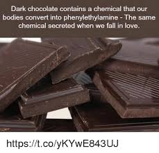 Dark Chocolate Meme - dark chocolate contains a chemical that our bodies convert into