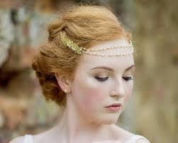 gold headpiece deco inspired wedding browband headpiece bronte jules